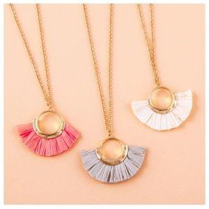 Dainty Necklace Featuring a Raffia Inspired Tassel